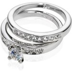 Marks and Spencer M&S Collection Platinum Plated Diamanté Duo Wedding Rings