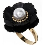ASOS Flower Ring with Faux Pearl - Black