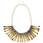 Liquorish Statement Spike Drop Necklace - Gold