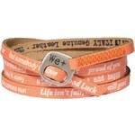 We Positive Oranžový wrap náramek s nápisy 110