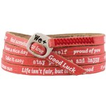 We Positive Červený wrap náramek s nápisy 114