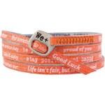 We Positive Oranžový wrap náramek s nápisy 123