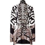 Etro Silk-Cashmere Mixed Animal Print Cardigan in Black/White
