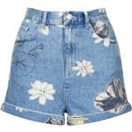 Topshop MOTO Bleach Floral Mom Shorts