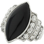 Topshop Black Oval Stone Ring