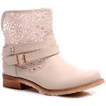 Perfect shoes Nízké letní kozačky s krajkou béžové Velikost: 40/26,5 cm