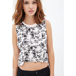 FOREVER21 Kitty Print Cropped Muscle Tee