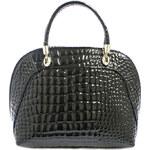 Černá lesklá kožená kabelka ItalY 10009 černá