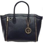 Glamorous by Glam Černá kožená kabelka se zlatým zipem na straně