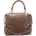 Kožená kabelka s kovovým poutkem - béžováGlamorous by Glam