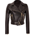 Fausto Puglisi Leather Cropped Biker Jacket