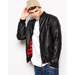 Bellfield Bomber Jacket In Faux Leather With Check Lining - Black
