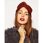 ASOS Fine Rib Knitted Turban Hat - Brown
