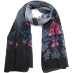 Kaytie Wu Šátek na krk, tmavý šátek, černý šátek s květinovým vzorem