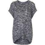 Topshop Salt and Pepper Woven Tabard Top