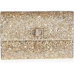 Anya Hindmarch Glitter Fabric Valorie II Clutch in Pale Gold