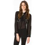 Tally Weijl Black Embellished Pocket Sheer Blouse