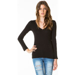 Tally Weijl Black Basic V-Neck Long Sleeve Top