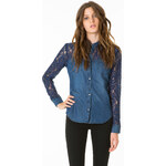 Tally Weijl Blue Lace Detail Denim Shirt