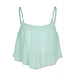 Tally Weijl Blue Crop Top with Sheer Material