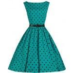 AUDREY tyrkysové - Retro šaty inspirované padesátými léty