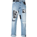 McQ Alexander McQueen Loose Fit Mixed Media Patched Jeans
