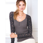 Victoria's Secret Lace-sleeve Henley Tee