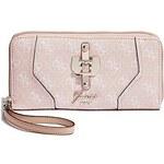 Guess Elegantní peněženka Confidential Logo Zip-Around Pink Gloss