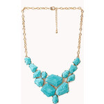 FOREVER21 Faceted Faux Stone Bib Necklace