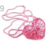 Stoklasa Náhrdelník s drátovaným srdcem (1 ks) - 9 růžová