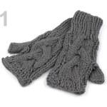 Stoklasa Rukavice dámské 10x20cm bez prstů pletené s copy (1 pár) - 1 šedá