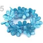 Stoklasa Náramek plastový s květy pružný (1 ks) - 5 modrá azuro