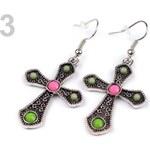 Stoklasa Náušnice kovové kříž (1 pár) - 3 zelená sv.