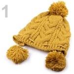 Pletená čepice s bambulemi (1 ks) - 1 hnědá hořčicová Stoklasa