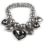 Stoklasa Náramek kovový s přívěsky HEART (1 ks) - platina