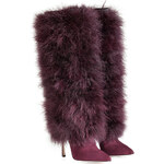 Sergio Rossi Suede Boots with Feather Shaft