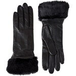 Promod Fur trim leather gloves