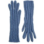 Johnstons Cashmere Cable Gloves - Blue