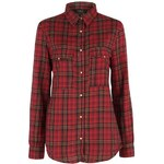 Rock and Rags Brushed Check Ladies Shirt Red 8 (XS)