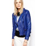 Muubaa Ollon Quilted Leather Jacket in Cobalt - Blue