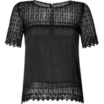 The Kooples Silk Blouse with Lace Trim