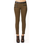 Forever 21 Zippered Faux Leather Trimmed Skinnies