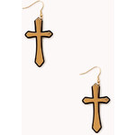 Forever 21 Layered Cross Drop Earrings