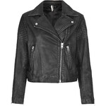 Topshop Authentic Washed Leather Biker Jacket