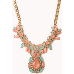 FOREVER21 Old Charm Faux Gemstone Bib Necklace