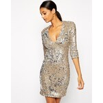 TFNC Bodycon Sequin Dress With Deep Plunge Neckline - Gold