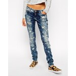 Noisy May - Schmale Jeans im super Used-Look - Blau