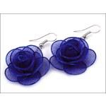 Romantické modré náušnice Růže