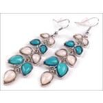 Dlouhé náušnice s modrými kamínky