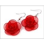 Romantické červené náušnice Růže